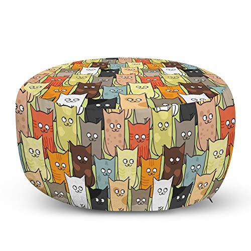 Ambesonne Cats Ottoman Pouf, Funny Colorful Graphic Kittens Cartoon Style Boys Girls Kids Playroom Nursery, Decorative Soft Foot Rest with Removable Cover Living Room and Bedroom, Cream Orange