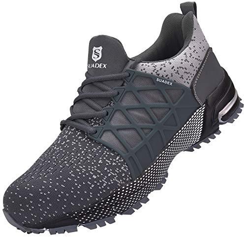 SUADEX Zapatos de seguridad para hombre y mujer, ligeros, antideslizantes, transpirables, con puntera de acero, color Gris, talla 48 EU