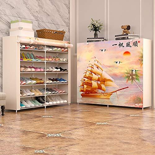 QFFL Chaussure Rack Multi-couche Ménage Économique Économisant l'espace Dortoir Stockage Anti-Poussière Petite Chaussure Rack Foyer Tissu Chaussure Cabinet Multifonctionnel Porte-Chaussures Range-chau