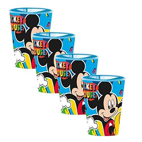 Juego de 4 vasos infantiles de plástico duro para niña y niño, varios personajes de 260 ml, con licencia (Mickey azul)