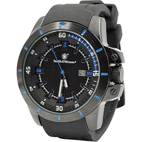 Smith & Wesson Trooper Watch, 5 ATM, Japanese Movement, Scratch-Resistant, Rubber Strap, 47mm, Blue