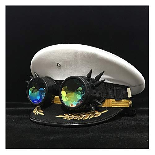 LHZUS Sombrero retro Steampunk para mujer y hombre, visera con gafas de engranaje, disfraz cortical de cosplay, accesorios talla S, M, L, XL, XXL (color: blanco, tamaño: 57 cm)