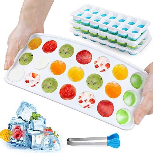GeeRic 4er Eiswürfelform Silikon Eiswuerfel Mit Deckel Ice Tray Ice, Kühl Aufbewahren, LFGB Zertifiziert, Blau&Grün