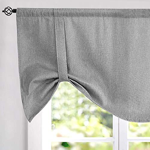 Tie Up Valances for Windows for Kitchen Windows Flax Linen Textured Room Darkening Tie Up Shade Window Curtain 1 Panel Grey 18 Inches Long