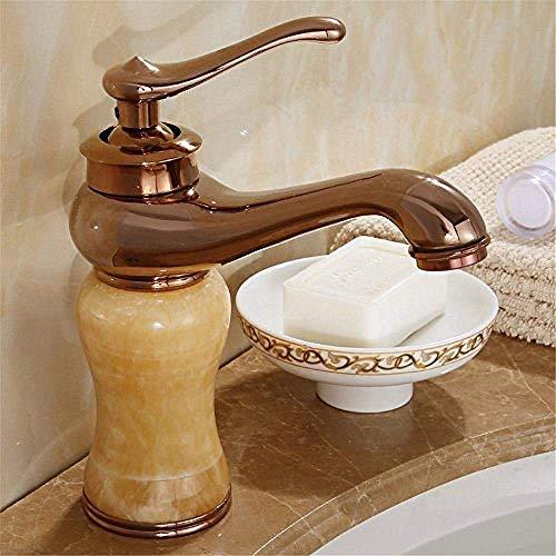 Robinet de cuisine Robinet de mélange chaud et froid Salle de bains Salle de bains Jade Or antieke kuivre + marbre wastafel monotrou Robinet A-156 160