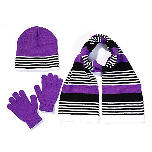 S.W.A.K. Girls Knit Hat, Scarf and Gloves Set - Purple/Black Combo