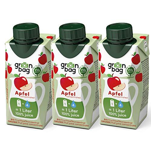Green-Bag Bio Apfelsaft Konzentrat zum Selbermischen mit Wasser - 3x 200ml Fruchtsaftkonzentrat = 3l Fruchtsaft aus frischen Äpfeln | 100% natürlich Frucht Saft ohne Zucker Saftkonzentrat Getränk
