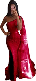 Long Prom Evening Dresses for Women, Party Formal Gowns One Shoulder Lace Applique Front Slit Mermaid