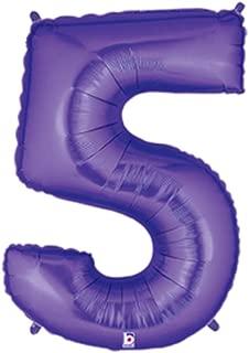 Betallic Foil Balloon 15845PB Number 5-Purple Megaloon, 40