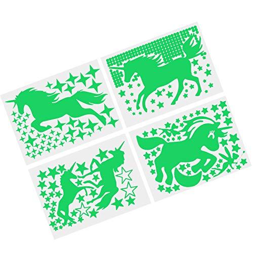 Creëer Idee 4 Sheet Eenhoorn Ster Paard Lichtgevende Cartoon Muursticker Set Kinderkamer Decoratie