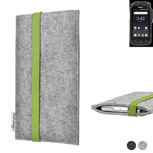 flat.design Handy Hülle Coimbra für Ruggear RG725 maßgefertigte Handytasche Filz Tasche fair grün hellgrau
