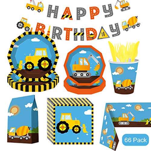 Construction Birthday Party Supplies, 66PCS Dump Truck Party Decorations Include Dump Truck Plates, Tableware, Cups, Napkins, Candy Bags and Tablecloths, Suitable for Boys Birthday Party Decorations