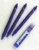 Pilot FriXion Ball Knock Bolígrafos de tinta de gel borrable retráctil, punta fina, 0,7 mm, tinta azul, juego de 3 y 3 bolígrafos de tinta de gel