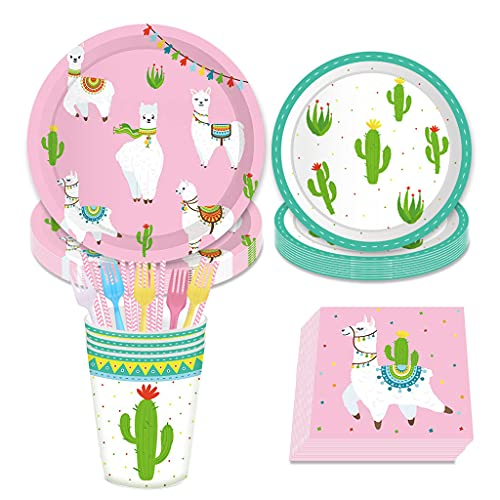 DreamJ 109Pcs Alpaca Cactus Disposable Tableware Set , Llama Alpaca Party Supplies with Plates Cups Napkins Forks Straws for Boys,Girls,Baby Showers Birthday Party Favors Decorations (Severs 16)