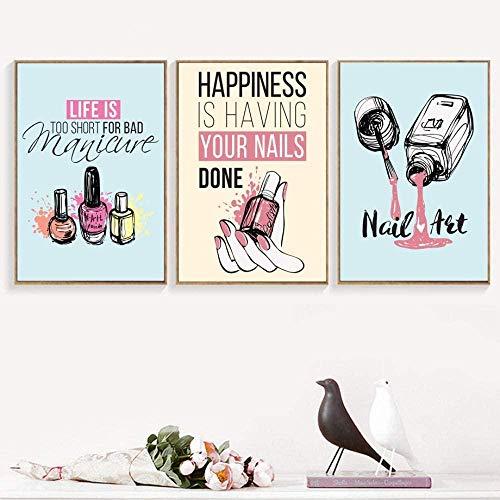 WADPJ Cartoons nagellak citaten muurkunst canvas afbeelding en afdrukken woonkamer kunst foto's voor meisjes slaapkamer decoratie 40 x 60 cm 3 delen zonder lijst