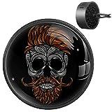 NOBRAND - Deodorante per auto, 2 pezzi, rosso morto, hipster, barba e baffi, con teschio umano, diffusore per aromaterapia