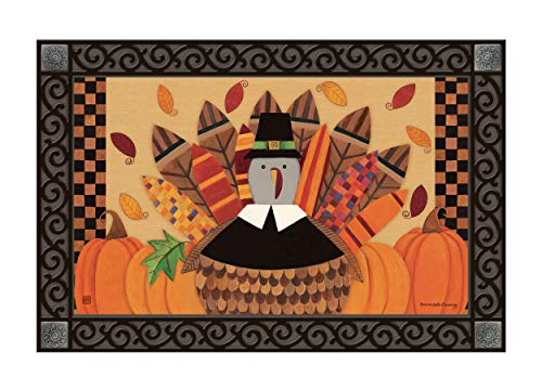 Studio M MatMates Pilgrim Turkey Fall Thanksgiving Decorative Floor Mat Indoor or Outdoor Doormat with Eco-Friendly Recycled Rubber Backing, 18 x 30 Inches