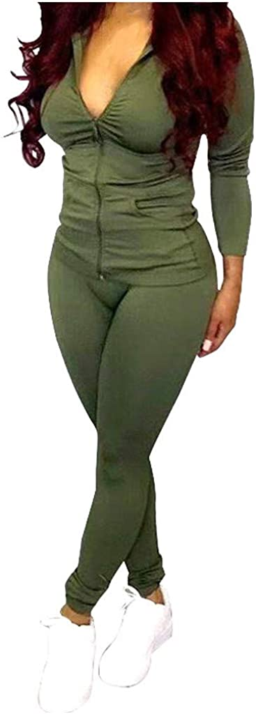 Women's 2 Piece Tracksuit Set,Zipper Coat + Elastic Leggings Pants Sweatpants for Jogger Sports