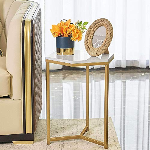 HAWOO Marble Side End Table with Gold Frame, Modern Hexagon Bedside Nightstand w/Faux Marble Top, 16.5(L)×20(H)
