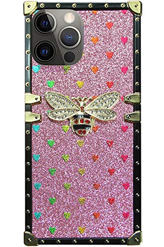 Muntonski Compatible with iPhone 12 Pro Max case 2020 Square Trunk Cute bee Bling Rectangle Glitter 12promax Phone Cover 12max Girly Luxury Bumper for Girls Women Stylish 6.7 inch (Pink)