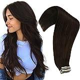 VeSunny 16inch Darkest Brown Hair Extensions Human Hair Tape in 50g Tape in Hair Extensions Human Hair #2 Darkest Brown 20pcs