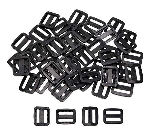 Shapenty 3/4 Inch/ 20mm (Inner Length) Plastic Tri-Glide Slides Button Bulk Adjustable Webbing Triglides Slider Buckle for Belt Backpack Bags Sewing, 50PCS