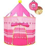 Opret Tienda de Princesa para Niñas Pop Up Carpa Plegable para Niños Carpa Rosa con Bolsa de Transporte y Luz de Cadena para Interiores y Exteriores