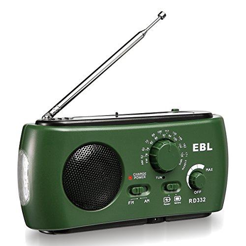 EBL Portable Weather Emergency Radio Solar Hand Crank Radio Self Powered AM FM Radio Camp Radio with Flashlight AM FM, USB Output Port, Reading Lamp