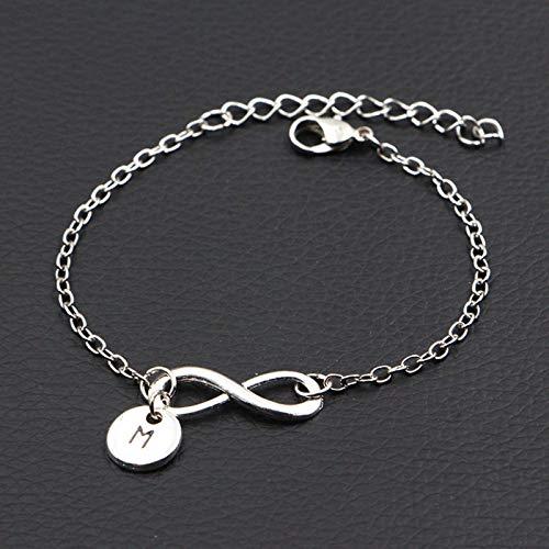 Letters A-Z Infinity Bracelet Antique Silver Color DIY Handmade Link Chain Bracelet Women Fashion Jewelry