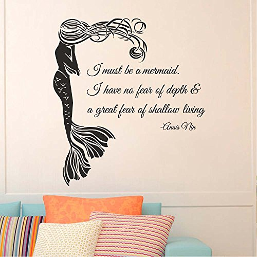 "BATTOO Wall Decal Quote I Must Be A Mermaid- Mermaid Wall Decal Quote- Anais Nin Quote Wall Decal Baby Teens Room Bedroom Mermaid Decal(Black, 22""h x20""w)"