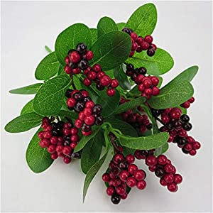 Weiy Artificial Plants Rhododendron Small Fruit Simulation Lucky Berries Bouquet Flower Bunch Bridal Wedding Party Home Decor