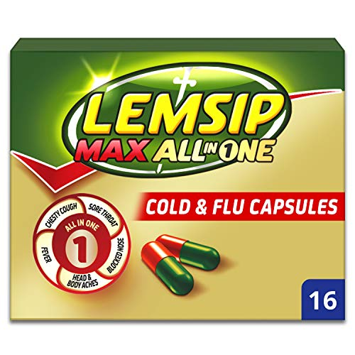 Lemsip Max All-In-One Cold and Flu Capsules with Paracetamol, 16 each