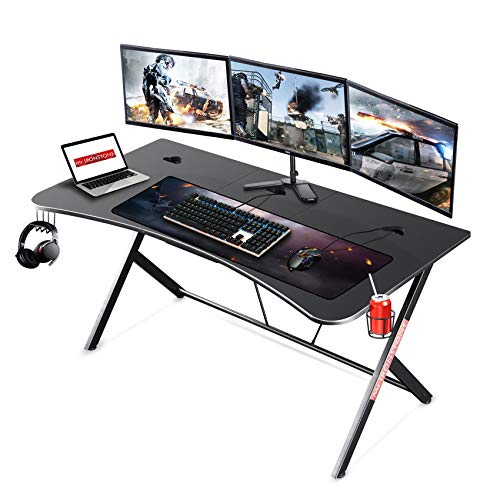Mr IRONSTONE Large Gaming Desk 63' W x 32' D Home Office Computer Table, Black Gamer Workstation with Cup Holder, Headphone Hook and 3 Cable Management Holes
