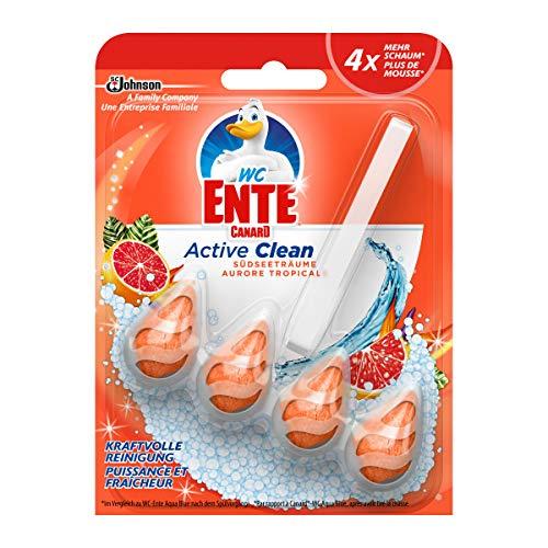 WC-Ente Active Clean WC Duftspüler-Einhänger, WC Reiniger, Südseeträume Duft, 8er Pack (8 x 38,6ml)