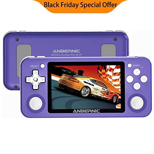 RG351P Consoles de Jeux Portable 64Go, Open Linux Source System Puce RK3326, Anbernic Console de Jeux Retro 3.5 Pouces IPS Soutien PSP/PS1/N64/NDS(violet)