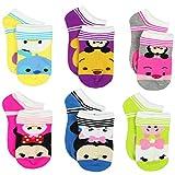 Tsum Tsum Girls Womens 6 pack Socks (Shoe: 4-10 (Sock: 9-11), Tsum Tsum Stripes Multi)