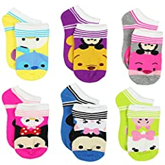 Sock size Medium 6-8 fits shoe size 10 M US Little Kid - 4 M US Big Kid Sock size Large 9-11 fits shoe size 4 M US Big Kid - 10 M US Womens Novelty no show style sock set; 6 pairs Ribbed-knit or scalloped cuff; Reinforced heel and toe Features Disney...