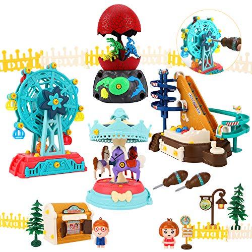 LBLA Giocattoli Costruzioni,Giochi Creativo Educativi per Bambini 3 Anni, Parco Divertimenti con Ruota Panoramica, Giostra, Uova Dinosauro, Montagne Russe