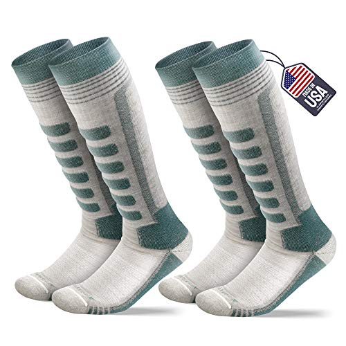Samsox 2-Pair Merino Wool Ski Socks, Balsam/Oatmeal L/XL (Men 10-13 / Women 12+)