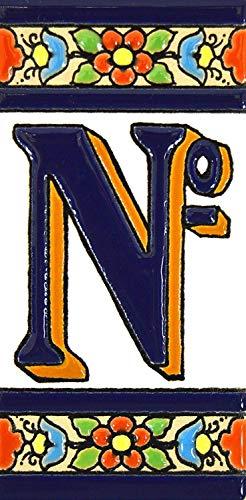 Letras y números con todo el abecedario, forma tus letreros en azulejo de cerámica policromada, pintados a mano en técnica cuerda seca. (Símbolo'Número Nº')