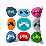 Musesh Bed Pillow Covers, Sign Icon Video Game Symbol Colored Round Buttons Flat Design Circle Icons Set for Sofa Home Decorative Pillowcase 18X18Inch Pillow Covers