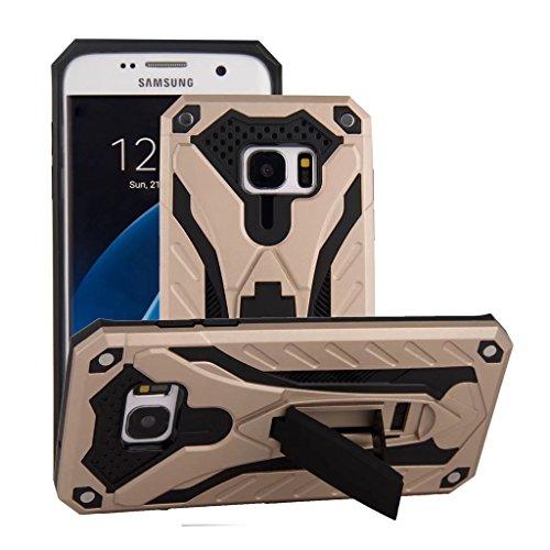 Funda Samsung Galaxy S7 Edge Oro Rosa - MUTOUREN 2 en 1 PU+ PC Híbrido Resistente a Prueba Golpes Kickstand Robusto Defender Cover Case para Samsung Galaxy S7 Edge