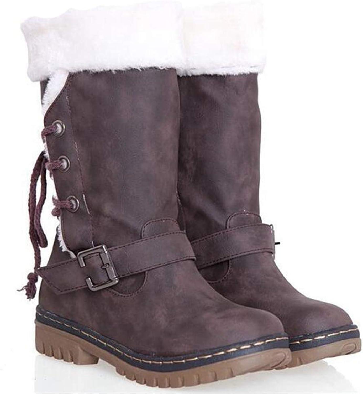Btrada Women's Snow Boots Short Plush Lace Up Mid Calf Boot Winter Fashion Anti Skid Flat Ladies shoes