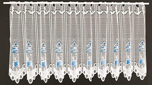 Scheibengardine grober Jacquard Leuchtturm 60 cm hoch | Breite der Gardine durch gekaufte Menge in 15,5 cm Schritten wählbar (Anfertigung nach Maß) | weiß blau | Vorhang Küche Wohnzimmer
