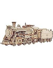 ROBOTIME Tåg 3D-pusselmodellsatser självmontering mekanisk konstruktion hantverk för barn, tonåringar och vuxna (ångtåg)
