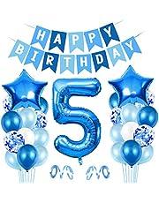 O-Kinee Ballong 5. Födelsedag blå, ballong 5 dekoration till födelsedag, Happy Birthday folieballong, gigantisk folieballong nummer 5, ballong 5 dekoration för födelsedag, födelsedagsdekoration pojkar 5 år