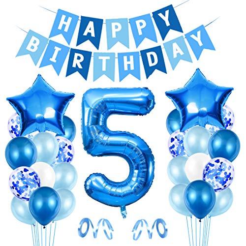 5er Cumpleaños Bebe Globos Decoracion, Globos Numeros 5 Decoracion, 5 año Cumpleaños Decoración Niño, Globos de Confeti de Latex Boy Ballon Party Cumpleaños 5 Año