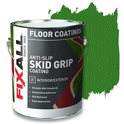 FIXALL Skid Grip Anti-Slip Paint, 100% Acrylic Skid-Resistant Textured Coating - F06555 - 1 Gallon, Color: Emerald