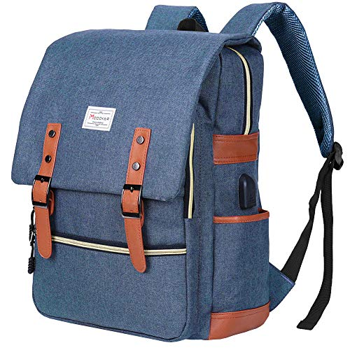 Image of the Modoker Vintage Laptop Backpack School College Bag Bookbags for Women Men,Travel Laptop Backpack with USB Charging Port Fashion Backpack Rucksack Fits 15 inch Notebook (Blue)