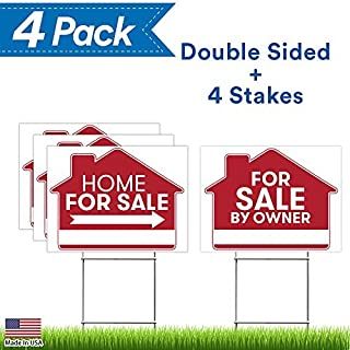 For Sale By Owner Sign - 4 Premium Yard Signs Bulk Pack - 18
